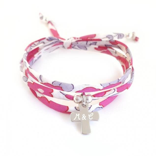 Bracelet Liberty Croix personnalisé & perles - Argent