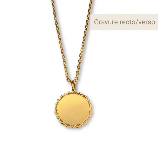 Collier personnalisé - Médaille vintage gravée