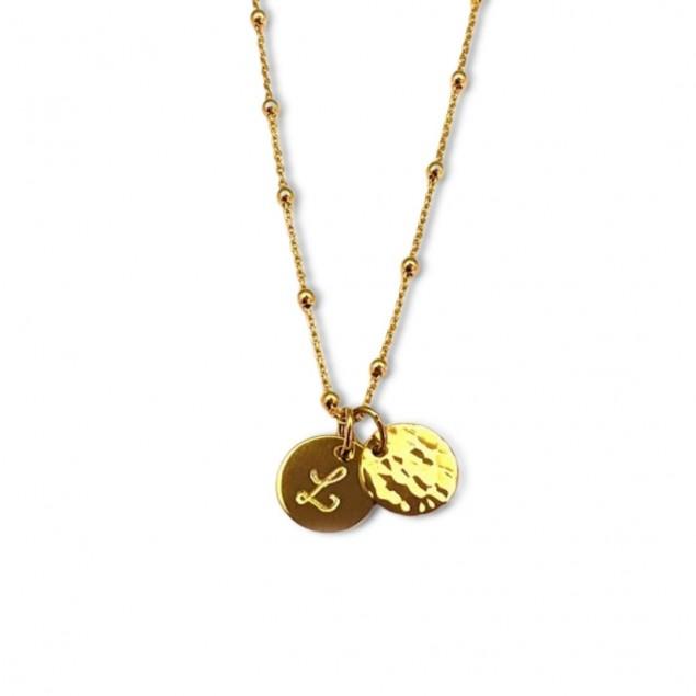 Collier initiale gravée plaqué or