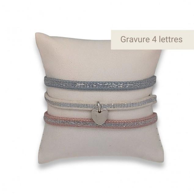 Bracelet Personnalisé Mini coeur gravé - Argent 925