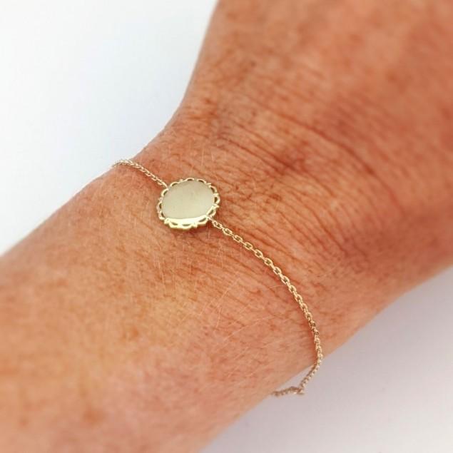 Bracelet chaîne vintage  jeton gravé - Plaqué Or