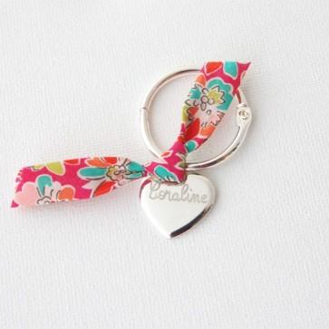 Porte clé personalisé - Coeur en argent et noeud Liberty